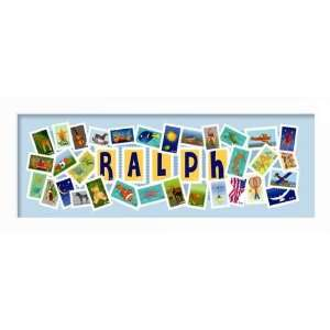Your childs name surrounded by colorful stamps. Baby Gift