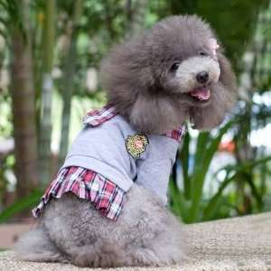 Japanese Styled Girls School Uniform Gray Shirt for Dogs
