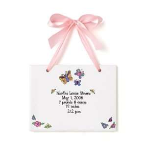 Birth Certificate Hand Painted Tile   Blossoms Baby