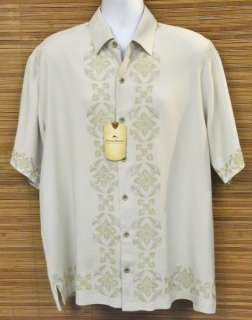 TOMMY BAHAMA Camp Shirt XL New SS Dont Be Fresco Sand