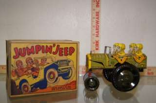 1947 MARX TIN JUMPIN JEEP TOY WIND UP WITH ORIGINAL BOX
