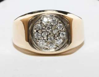 Estate 14K Solid Gold .40ct Diamond Pave Mans Ring