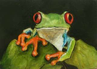 RED EYED TREE FROG Original ACEO Animal Art Painting OIL