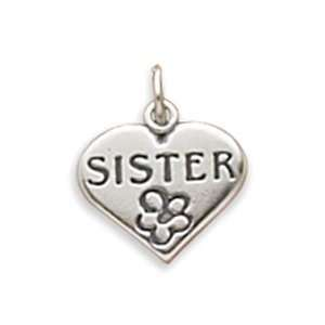 Sister In Heart Charm Measures 18mm In Diameter   JewelryWeb Jewelry