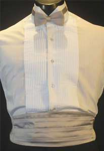 VINTAGE MENS LIGHT BLUE WINGTIP TUXEDO SHIRT 3PC XL2