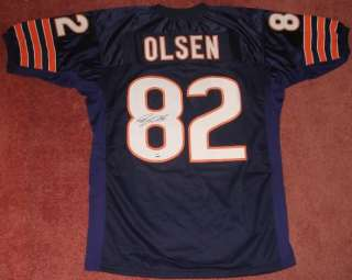 GREG OLSEN HAND SIGNED AUTOGRAPHED CHICAGO BEARS FOOTBALL XL JERSEY