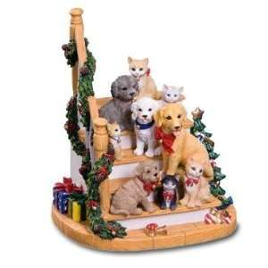 Christmas Dogs and Cats on Stairs Musical Decoration