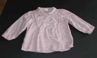 EUC Gap kids pink flannel top shirt baby girls 12 18 24