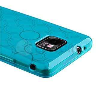 Clear Blue Circle TPU Rubber Gel Skin Case Cover For Samsung Galaxy S2