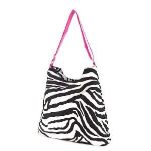 Large Canvas Messenger Bag   Zebra & Hot Pink Everything
