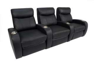 Rialto Home Theater Seating 7 Seats Black Leather Manual Chairs