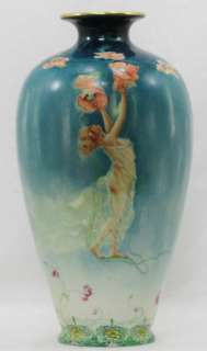 Lovely Maiden & Poppies Art Nouveau Hand Painted Large Porcelain Vase