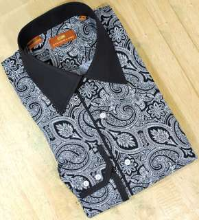 Steven Land Black White Paisley Design 100% Cotton Dress Shirt   Click