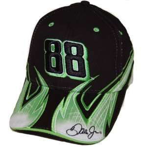 #88 Dale Earnhardt Jr. Black & Green AMP Flame Hat 2008