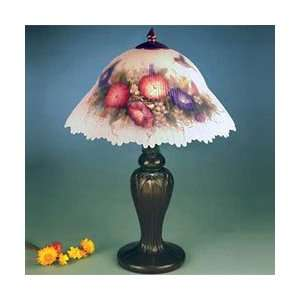 Flower Table Lamp, Antique Bronze and Glass/Handpainted Shade Home