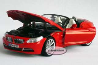 New BMW Z4 Open 124 Alloy Diecast Model Car With Box Red B091b