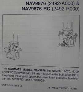 CABOVER 9670 9700 9800 CAB AIR RIDE KIT FITTING MOST COE NAV9876