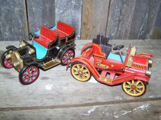 Two Trade Mark Modern Toys Old Tin Car Japan Collectible Antique