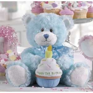 First Birthday Teddy Bear with Plush Cupcake   Blue Bear Toys & Games
