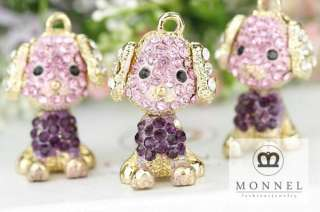 H310 Cute Crystal Puppy Dog Charm Wholesale (3pcs)