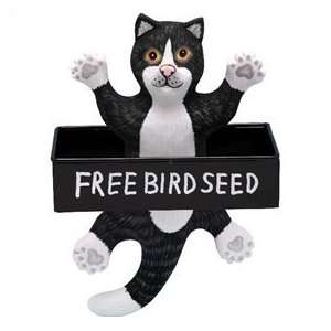 Bobbo Inc BOBBO3870132 Bird Feeder Cat Black   White