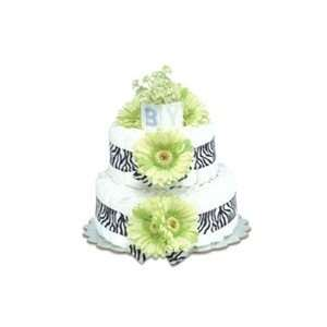 Bloomers Baby 2 Tier Diaper Cake   Lime Green Daisies with