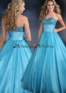 New Blue Beaded Evening/Formal/Ball Gowns Prom Dress Size 2 4 6 8 10