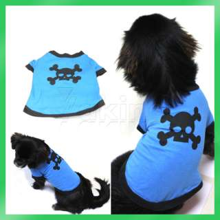 Blue Fashion Cute Lovely Pet Dogs Cotton Skull Picture Printed Clothes