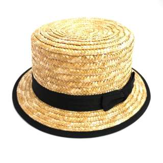 Unisex Mens Ladies Natural Straw Boater Summer Hat M L