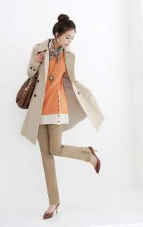 CHIC DOUBLE BREASTED COAT LAPEL TRENCH BELTED BEIGE S RY00024