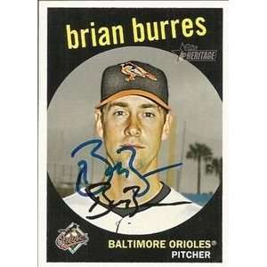 Pirates Brian Burres Signed 2008 Topps Heritage Card