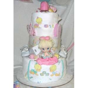 3 Tier Precious Moments Baby Diaper Cake   Girl Baby