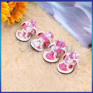 Pet Dog Pink Floral Canvas Boots Shoes Sneakers Cute Girls Shoelace