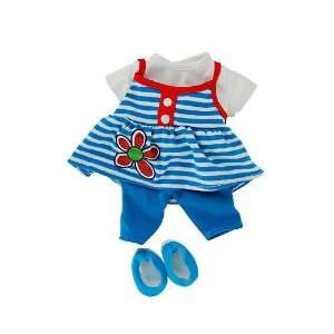Striped Top with Red Triming, Blue Leggings and Blue Shoes Toys
