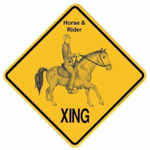 Horse & Rider Crossing Xing Sign