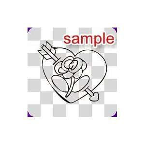 RANDOM HEART ROSE WITH ARROW 10 WHITE VINYL DECAL STICKER