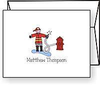 Personalized FIREMAN / FIRE TRUCK Note Cards Stationery