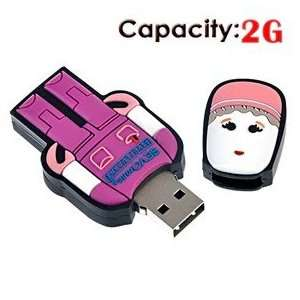 2G USB Flash Drive with Rubber Robot Doctor Shape (Red