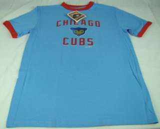 Mens Majestic MLB Chicago Cubs Ringer T Shirt Red / Blue any size S M