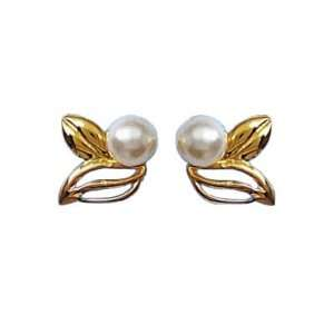 18K Gold Plated Pearl Leaf Stud Earrings Jewelry