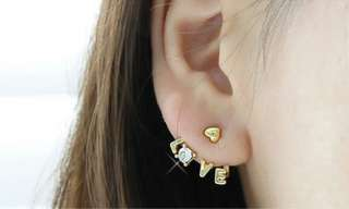 Plated 4 Colors Rhinestone Heart Love Letter Ear Stud Earring