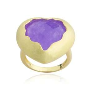 18K Yellow Gold Plated Sterling Silver Purple Quartzite