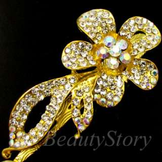 ADDL Item  Austrian rhinestone crystal flower hair clamp