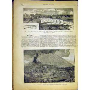 Train Railway London Dynamite Vesuvius Volcano 1880