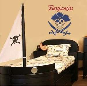 Pirate Skull Personalized Vinyl Decal Wall Sticker