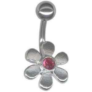 Rose Color Sterling Silver Dainty Daisy Belly Ring 14g 3/8