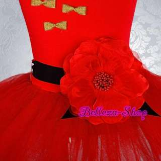 Girl Red Dance Costume Fairy Fancy Ballet Tutu Party Dress Up Size 4 5