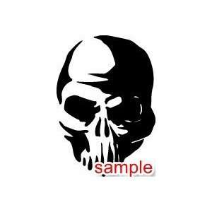 EVIL SKULL SKELETON HEAD WHITE VINYL DECAL STICKER