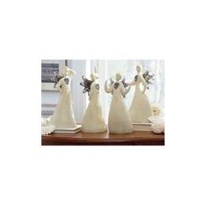 Set of 4 White Abstract Fluid Form Angel Christmas Table Toppers