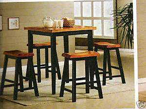 Black and Oak Color 5 piece Counter Height Table Set